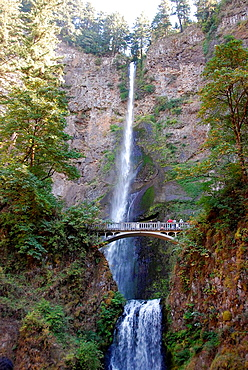 Multnomah Falls Columbia River Gorge Scenic Area Oregon OR US United States water power visitor vacation travel tour tourism tourist nature natural rock formation erosion