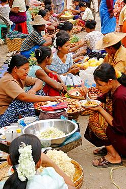 Food stalls, Monywa Market, Monywa, Myanmar (Burma)