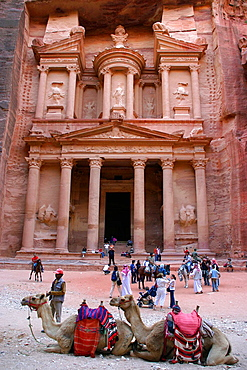 Camels and tourists in front of the Khasneh ('Treasury') at Petra, Jordan