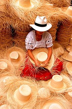 Woman making a 'Panama Hat', Cuenca, Azuay province, Ecuador