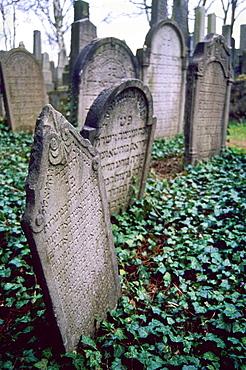 Graves of the cemetery in the Zamosti (Jewish Town), Trebic, Moravia, Czech Republic