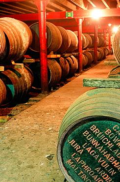 Warehouse, Lagavulin whisky distillery, Islay island, Scotland, UK