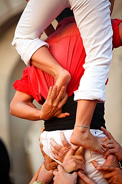 Castellers' (catalan tradition), human tower during the Merce Festival in Placa de Sant Jaume, Barcelona, Catalonia, Spain