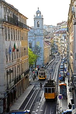 Rua de Sao Paulo where we can see the church of the same name, Lisbon, Portugal.