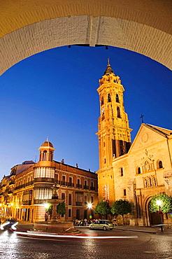 St Sebastian's collegiate church in the evening, Antequera, Malaga province, Andalucia, Spain