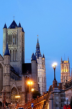 St, Nicholas' Church and Lakenhalle from St, Michael's bridge at Dusk, Ghent, Flanders