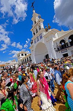 Pilgrims in El Rocio, 'romeria' (pilgrimage) to El Rocio, Almonte, Huelva province, Andalucia, Spain