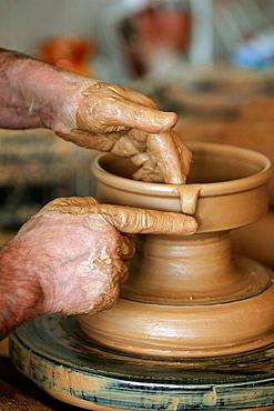 Galician traditional pottery in a workshop, Buno, La Coruna province, Galicia, Spain