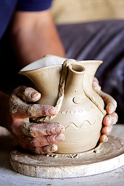 Galician traditional pottery in a workshop, Gundivo, Lugo province, Galicia, Spain