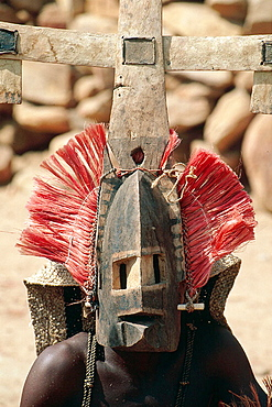 Mourning ceremony, Mask, Dogon Country, Mali.
