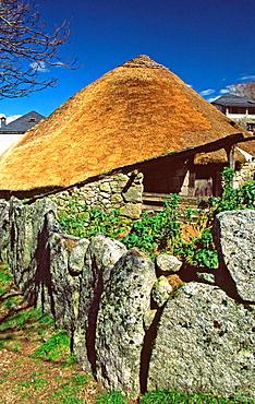 Palloza, typical house with vegetal roof, Pueblo de Piornedo, Los Ancares, Lugo province, Galicia, Spain