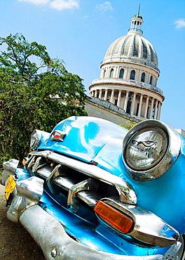 Capitol building and old car, Havana, Cuba