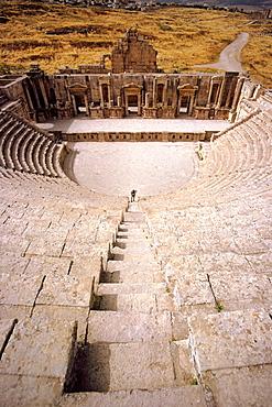 General view of the Roman Theatres stage in Jerash, Jordan