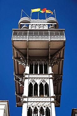 The Gothic revival style Santa Justa Lift Elevador de Santa Justa also known as the Carmo Lift Elevador do Carmo in the Chiado / Baixa district of Lisbon Lisboa, Portugal
