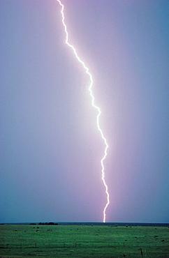 Lightning strikes the ground