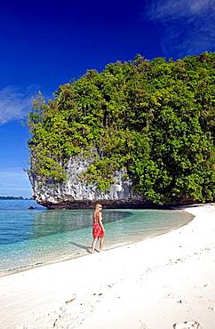 Walk at Long Beach of Rock Islands, Micronesia, Palau