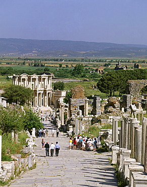 Curetes street, Library of Celsus in background, ruins of Ephesus, Turkey