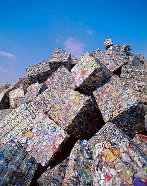 Recycling aluminum bales of cans, Port of Shimizu, Japan.