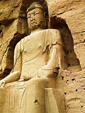 Colossal standing Future Buddha built in the Tang Dynasty at the Beling Caves on the Yellow River (Along the Silk Road), Gansu province, China