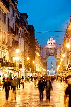 Rua Augusta Arch in the evening, Lisbon, Portugal