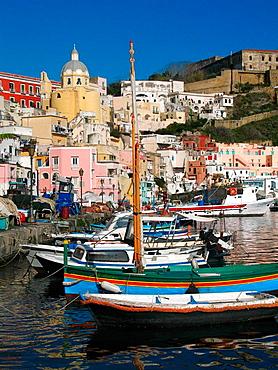 Town view of Corricella port, Procida, Bay of Naples, Campania, Italy.