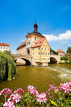 Germany, Bavaria, Bamberg, City Hall on a bridge over Regnitz river