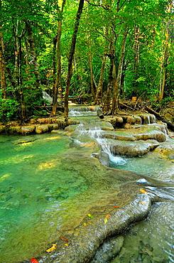 beautiful water pools in Erawan National Park in Kanchanaburi Thailand