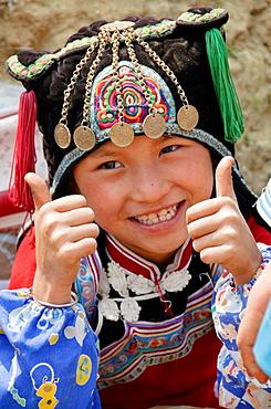 cute Hani minority girl in Yuanyang China