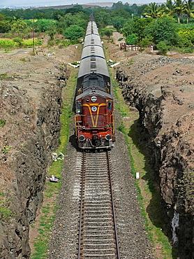 Train, Railway passing on railway track  Ramdarya, Pune, Maharashtra, India