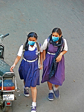 Schoolgirls, Precaution Mask for Swine Flu, H1N1