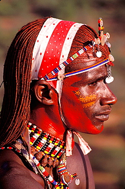 Africa, Kenya, Samburu, Elaborate headdress and body adornments worn by Samburu moran (warrior).