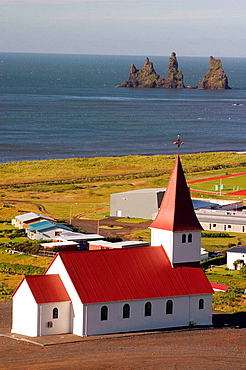 Church near the sea in the village of Vik, south Iceland