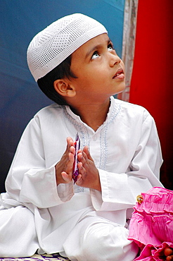 Panjim Goa, India, Muslim boy during the Jashn-Eid-Milad Un Nabi feast, commemorating prophet Mohammed's birth