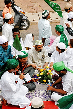 Panjim Goa, India, Muslims on parade during the Jashn-Eid-Milad Un Nabi feast, to commemorate prophet Mohammed's birth