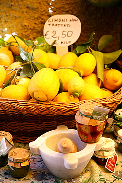 Local produce and impliments on display in the village of Monterosso, part of the Cinque Terre, 2006, Monterosso, Liguria, Italy