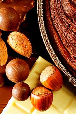 Chocolate, hazelnuts and almonds christmas sweet food