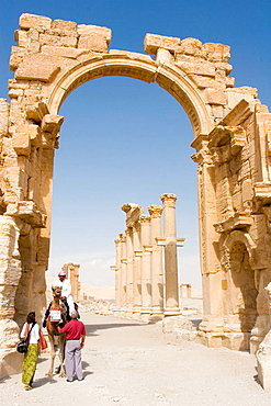 Tourists in Palmyra ruins, Syria