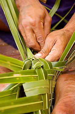 Fijian man weaving a basket from coconut leaves, Fiji
