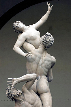 Giambolognas statue of Rape of the Sabines at Loggia dei Lanzi, Florence, Italy