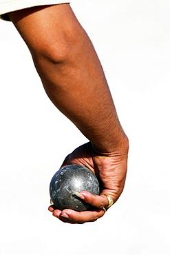 Gipsy man playing Petanca, Alicante, Comunidad Valenciana, Spain