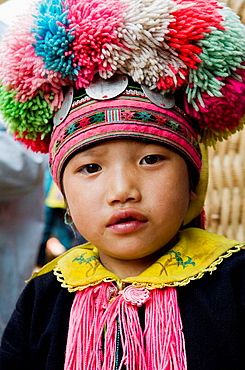 Portrait of a colorful Yao girl