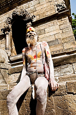 An Indian Sadhu  holy man  with his iron belt