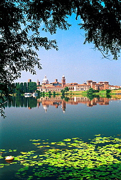 Italy, Lombardy, Mantova's Old Town Skyline from 'Lago Inferiore'
