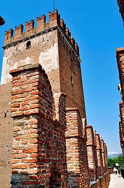 Italy, Veneto, Verona, Castelvecchio Castle, Tower
