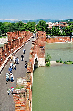 Italy, Veneto, Verona, Scaligero Bridge