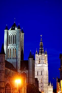 Belgium, Flanders, Ghent, St, Nicholas' Church and Lakenhalle from St, Michael's bridge at Dusk