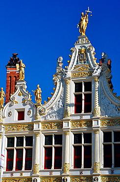 Belgium, Flanders, Brugge, Burg Square, Old Recorders' House, Detail of Roof Top