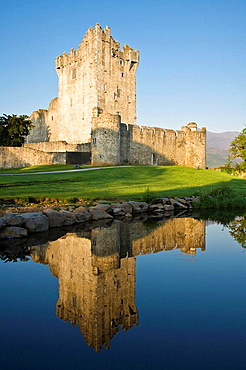 Ross castle in the Killarney National Park at sunrise in Ireland, Europe