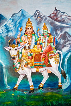 Lord Shiva and Parvathi on Rishaba- Painting in Katchabeswarar Temple, Kanchipuram, Tamil Nadu.