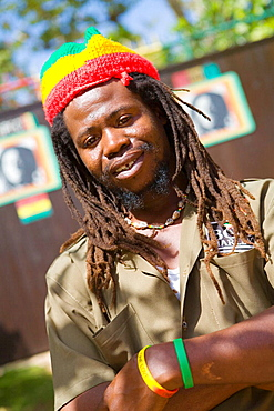 Bob Marleys Mausoleum warden, Nine Mile, Jamaica